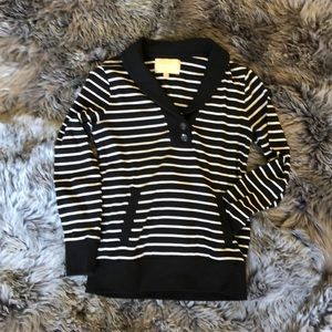 B1G1 BR Factory blk/wht thick knit collar+pocket